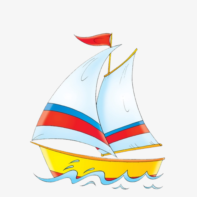 Color sea hand painted. Boat clipart sailing boat