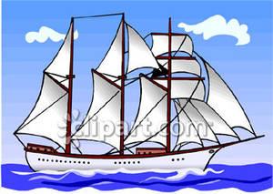 Three masted sailboat illustration. Boat clipart schooner