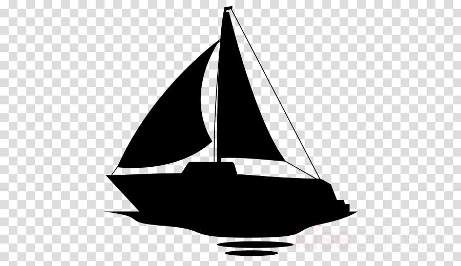 Cartoon silhouette sailboat . Boat clipart schooner