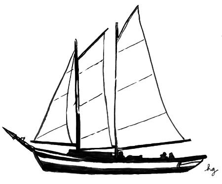 Simple sailboat drawing panda. Boat clipart schooner