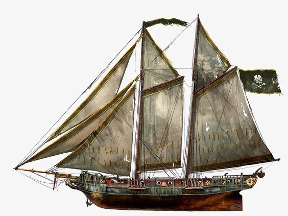 Boat clipart schooner. Canoe hand painted vintage