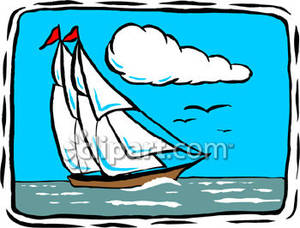 Sailing ship on the. Boat clipart schooner