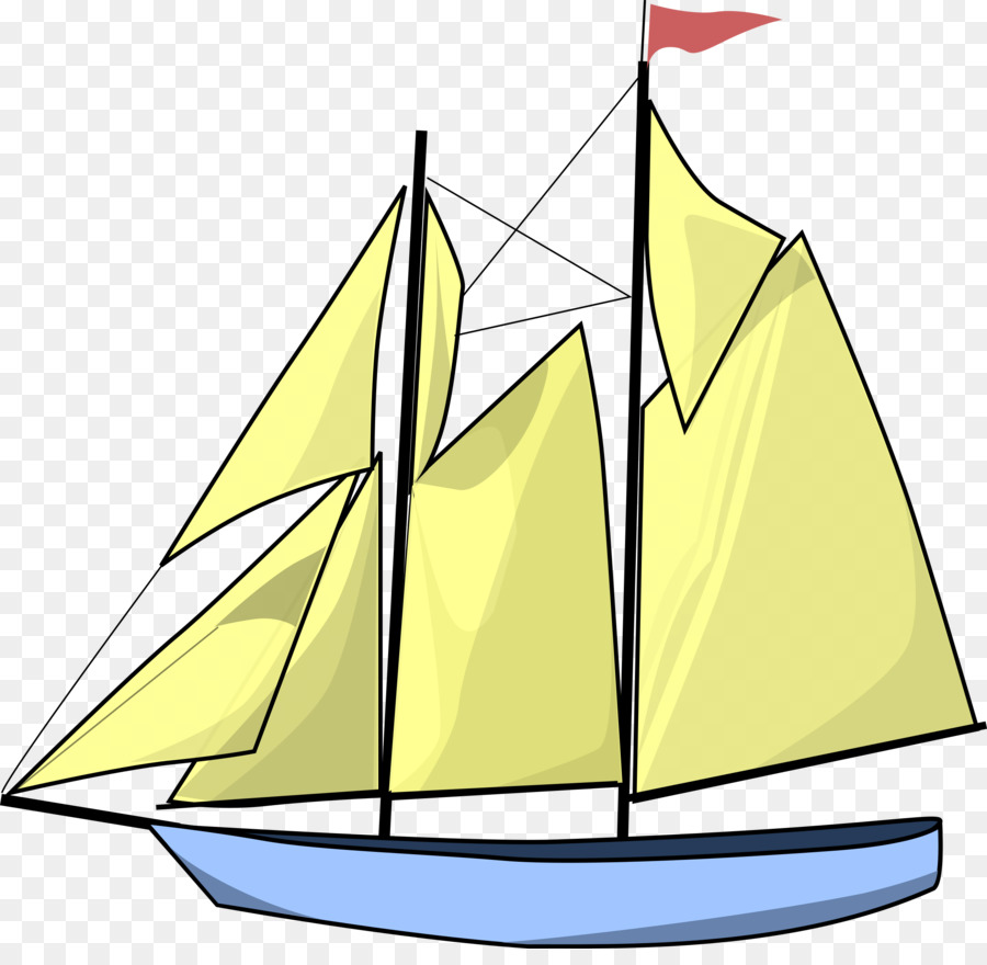 Boat clipart schooner. Cartoon sailboat sailing transparent