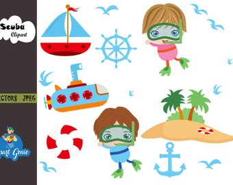 Diving etsy clip art. Boat clipart scuba