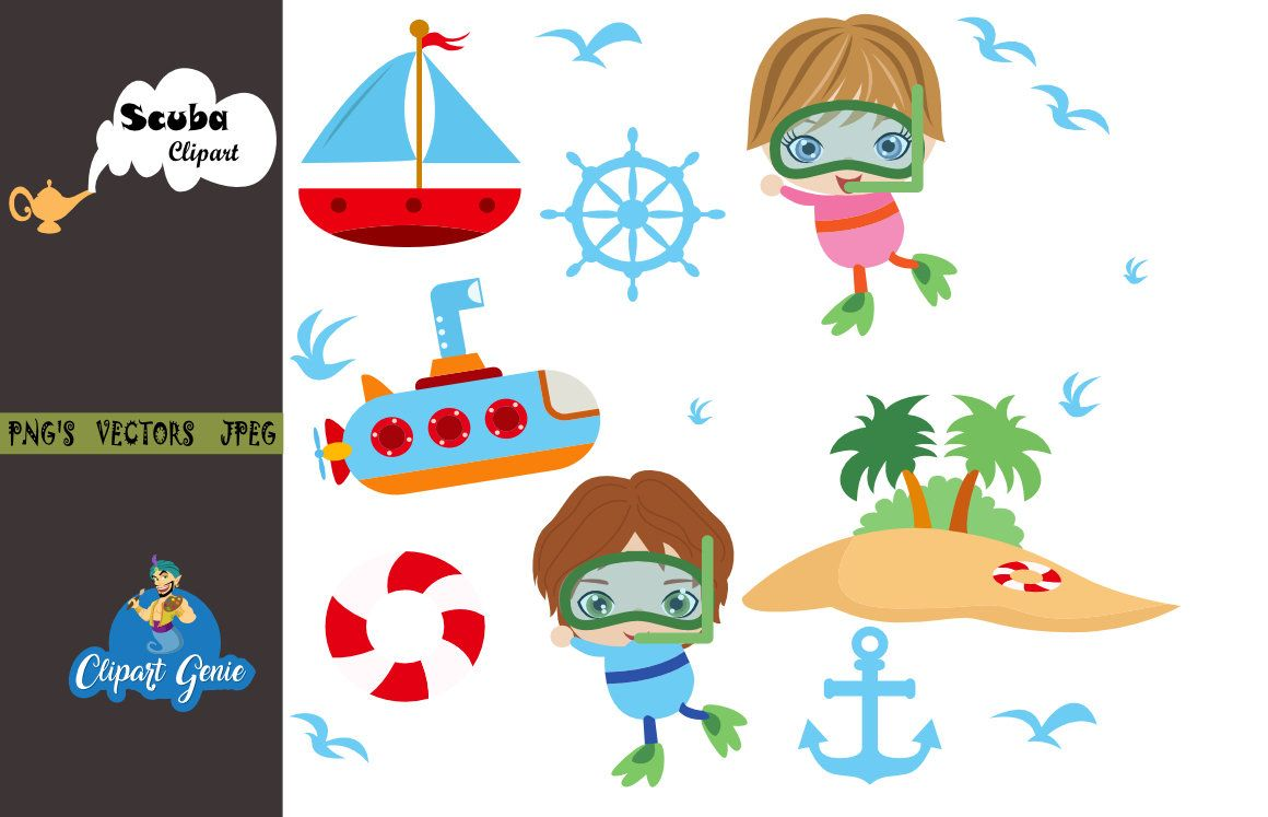 Diving clip art swimming. Boats clipart scuba