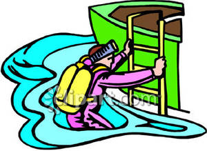 Diver climbing into a. Boat clipart scuba