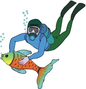 Boats clipart scuba. Animal diver
