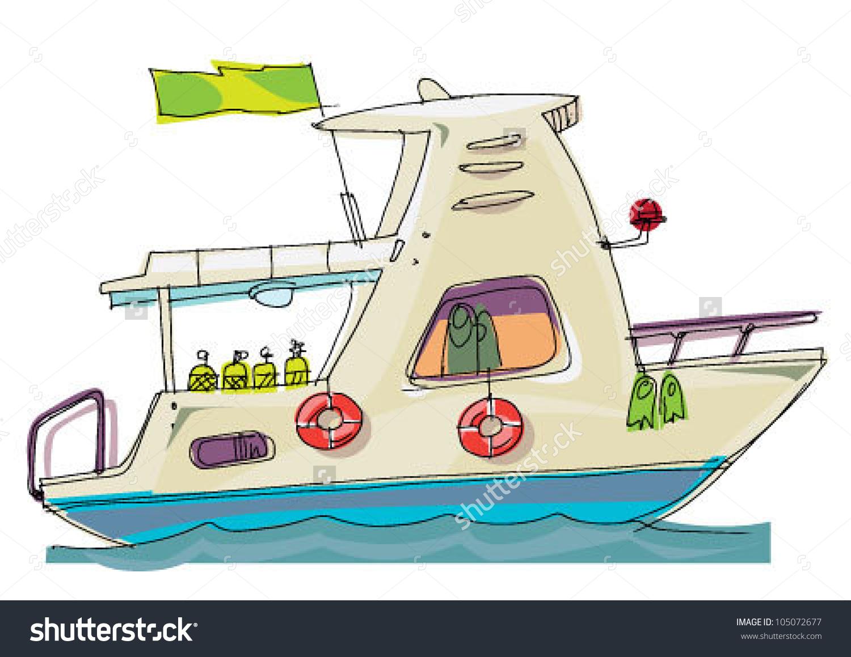 Dive clipground diver cartoon. Boat clipart scuba