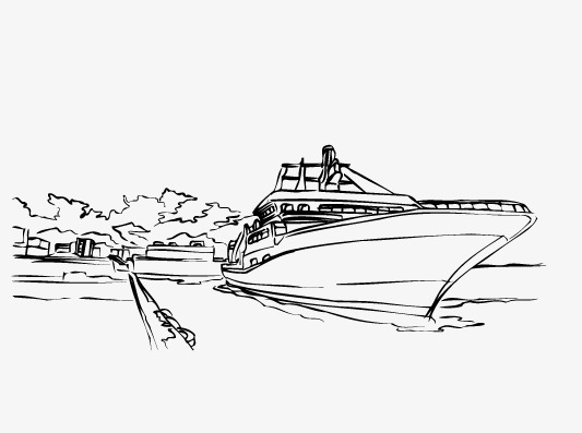 Hand painted ferry png. Boats clipart sketch