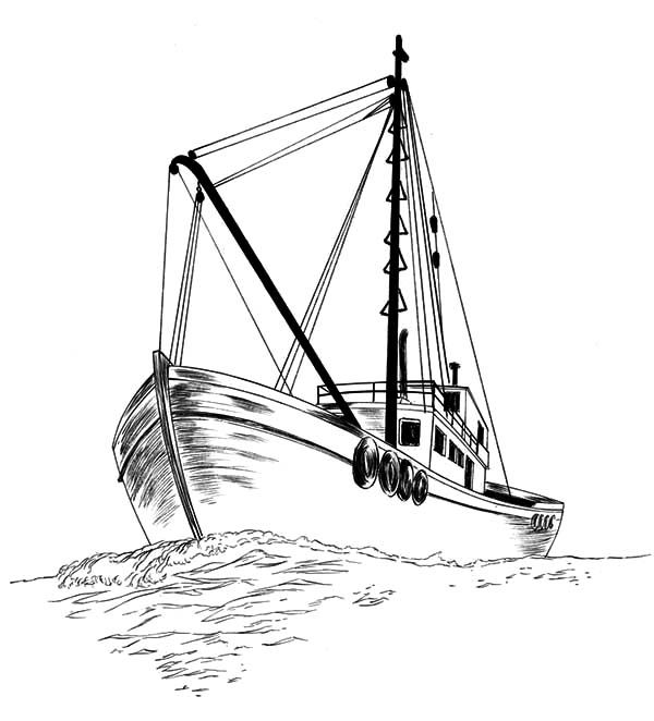 Fishing coloring pages. Boat clipart sketch