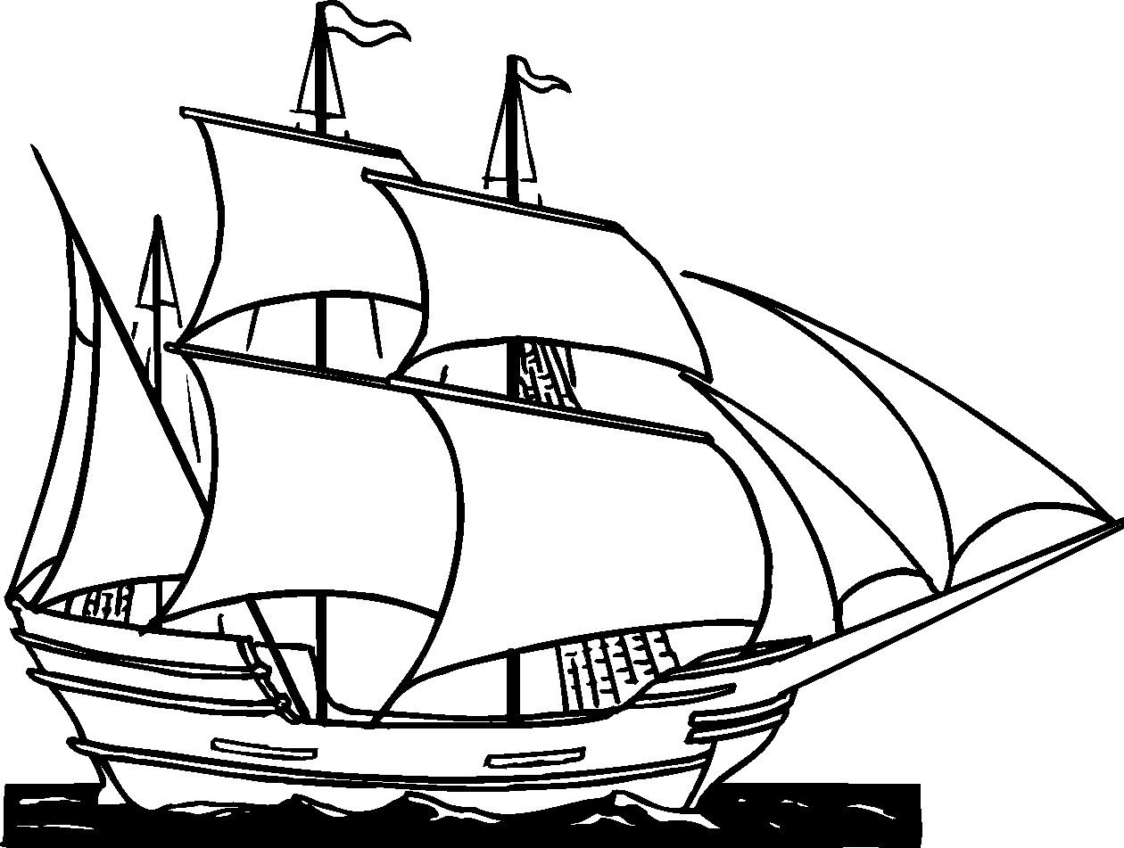 Clipper ship clip art. Boat clipart sketch