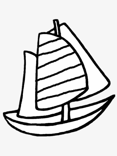 Sailing black and white. Boat clipart stick figure
