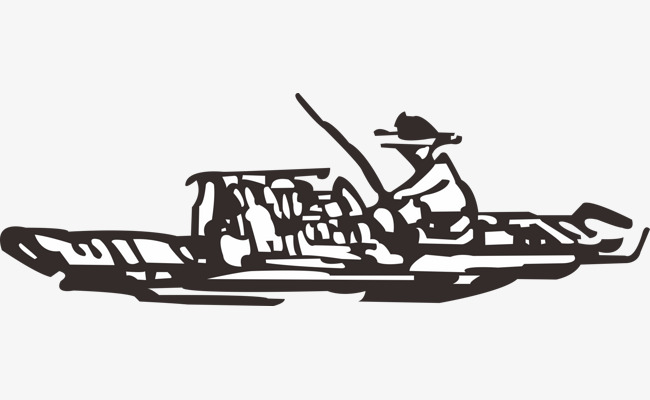 Boats clipart stick figure. Fisherman boat fish black