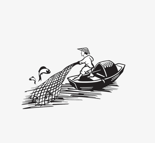 Fishing boat nets fisherman. Boats clipart stick figure