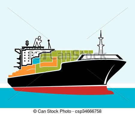 Cargo ship drawing at. Boat clipart tanker