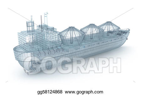 Drawing oil ship wire. Boat clipart tanker