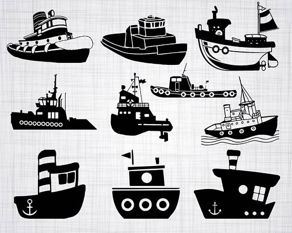 Svg bundle cut files. Boat clipart tugboat