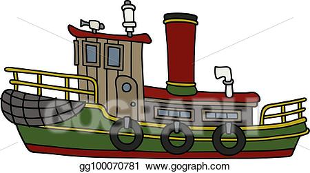 Vector funny old steam. Boats clipart tugboat