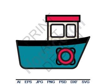 Boat clipart tugboat. Svg etsy dxf eps
