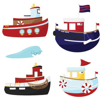 Premium nautical digital scrapbooks. Boats clipart tugboat