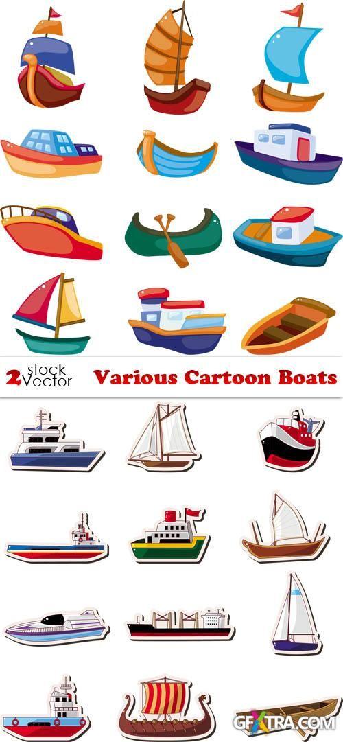 Boat clipart underwater. Vectors various cartoon boats