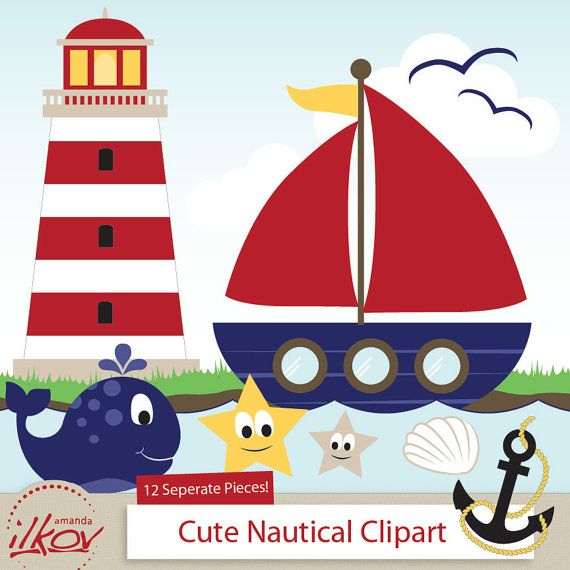 Boating clipart cute. Professional nautical for digital