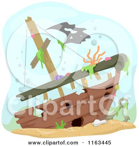 Boat clipart underwater. Cartoon of a sunken