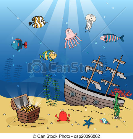 Sunken ship drawing at. Boat clipart underwater