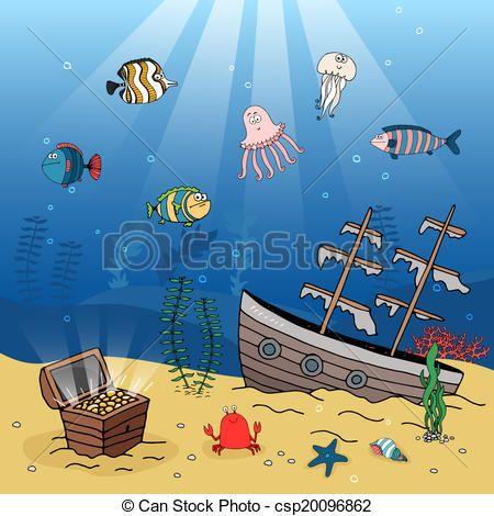 Free sunken ship clip. Treasure clipart under sea