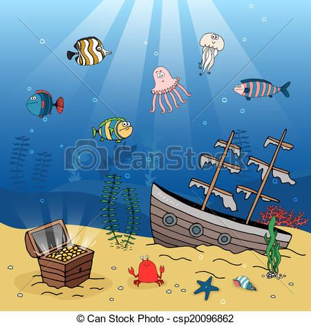 Free sunken ship clip. Boat clipart underwater