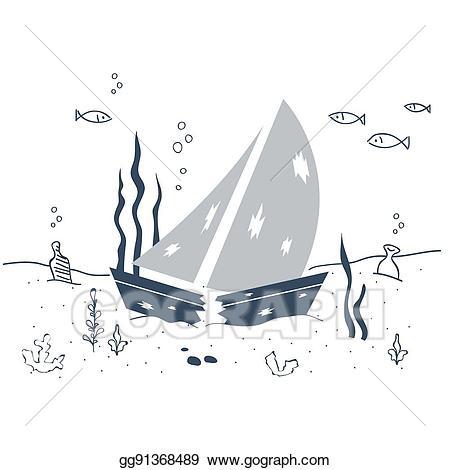 Vector art shipwreck sunken. Boat clipart underwater