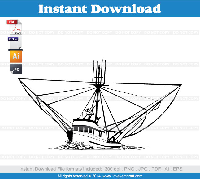 Boats clipart vector. Shrimp boat commercial free