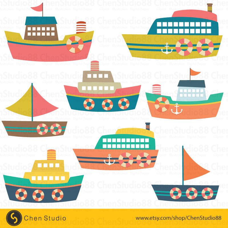 Boats clipart vector. Cute boat digital instant