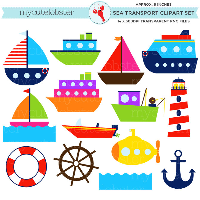 Sea set clip art. Boat clipart water transport