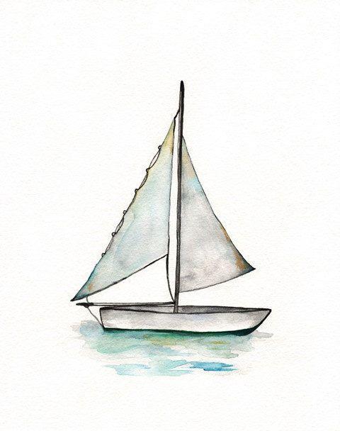 Sailboat art print wall. Boats clipart watercolor