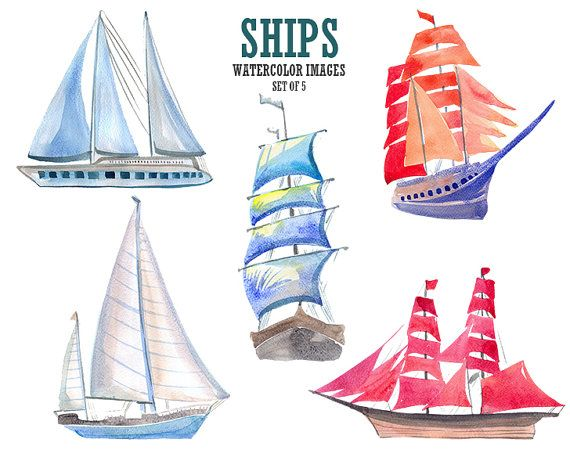 Boat clipart watercolor. Ships nautical clip art