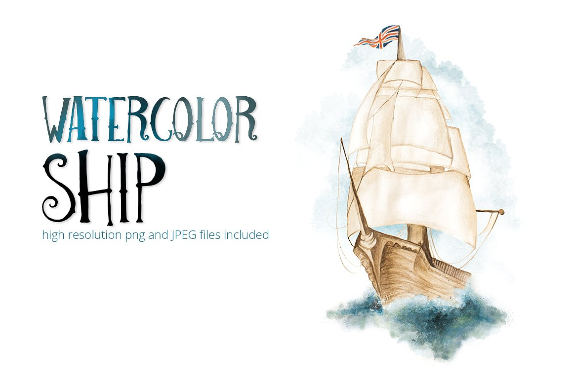 Boat clipart watercolor. Ship illustrations creative market