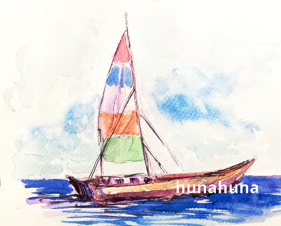 Sailboat digital art nautical. Boat clipart watercolor