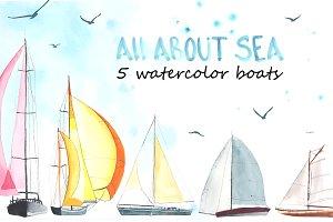 Bonitas creative market sailboats. Boat clipart watercolor