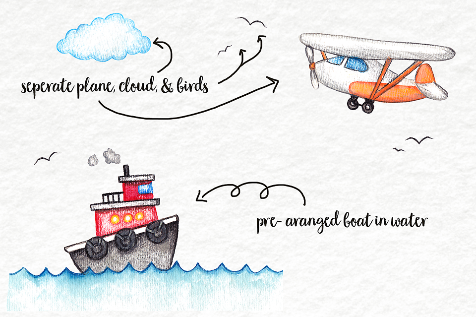 Boats clipart watercolor. Clip art planes trains