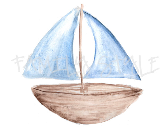 Sailboat . Boat clipart watercolor