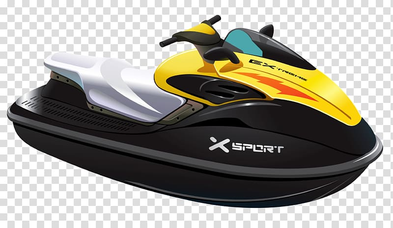 Boat clipart watercraft. Yellow and black sport