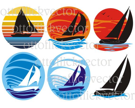 Sailboat vector sailing silhouettes. Boat clipart yacht