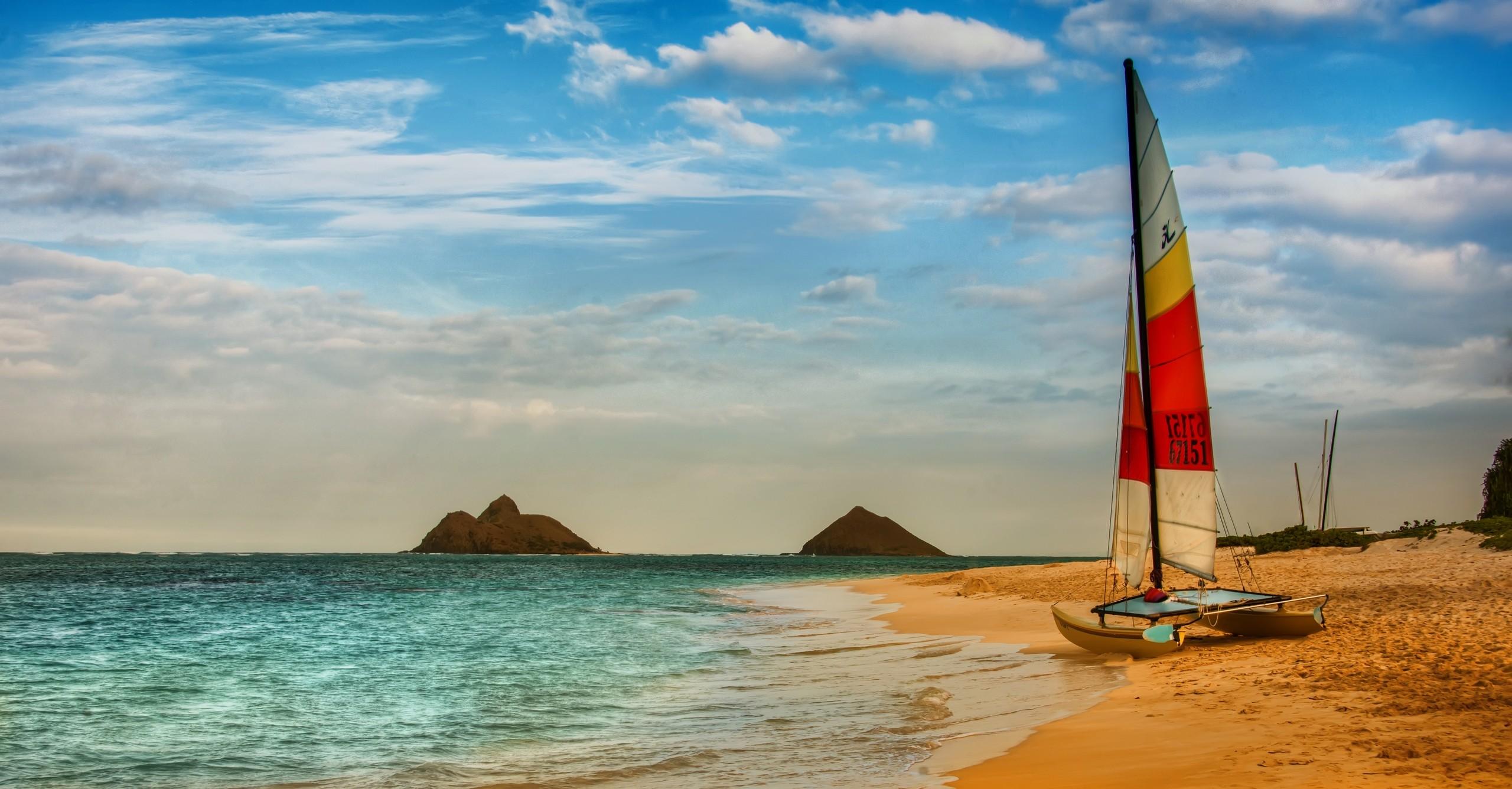 Beaches colorful sailing sea. Boating clipart beach