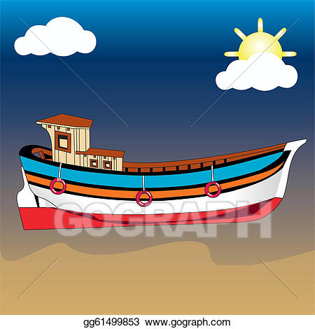 Boating clipart beach. Vector art boat on