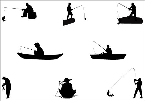 Boating clipart boat man. Fishing silhouette vector graphics