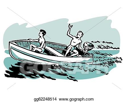 Drawing two young boys. Boating clipart boat tour