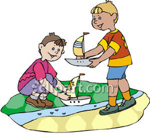 Boating clipart boy in boat. Two boys playing with