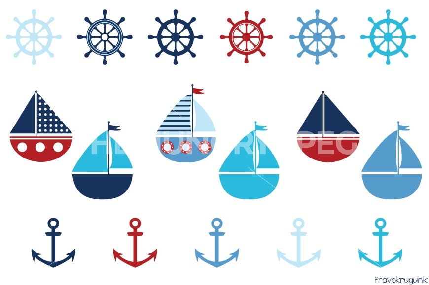 Nautical set sailing boats. Boating clipart boy in boat