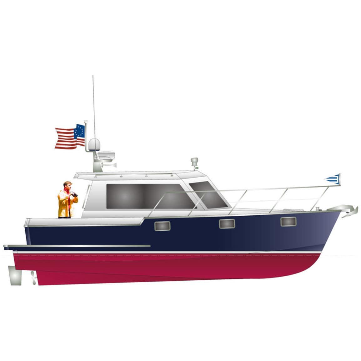 Inboard hard top downeast. Boating clipart cabin cruiser